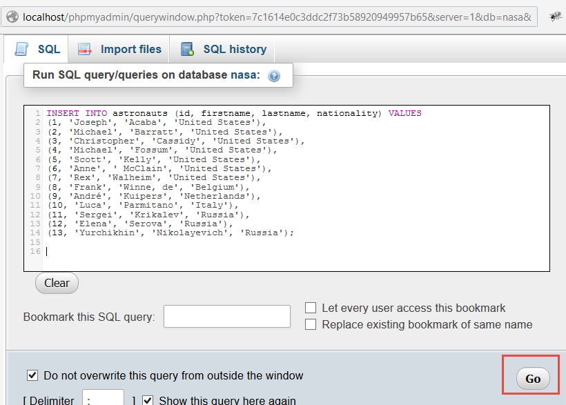 execute query with data