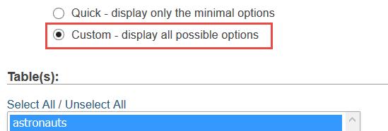 custom option export database